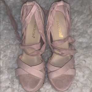 Nude pink wedges